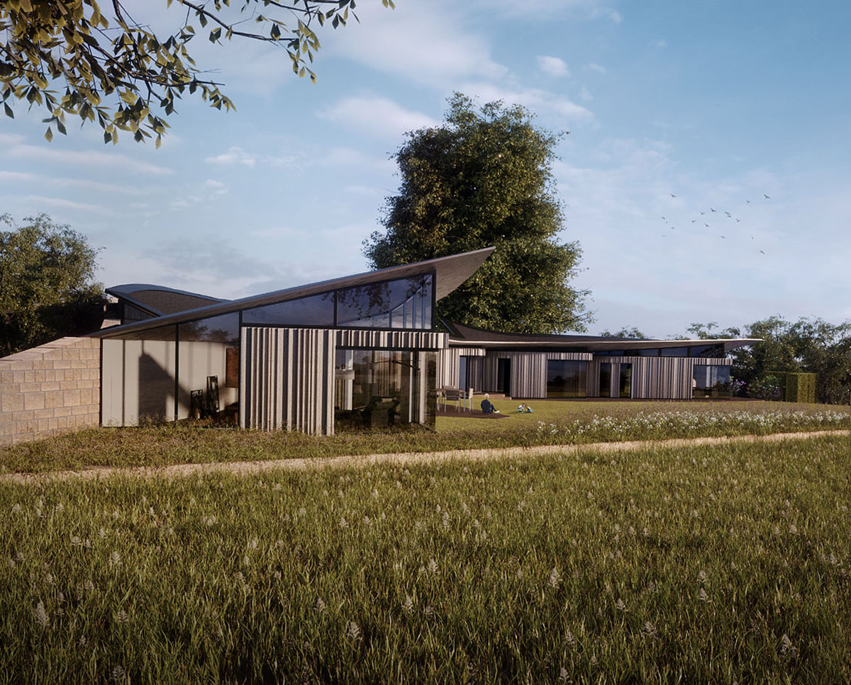 Exterior render of Ashdown Forest, a large Para 79 family home. Designed by Hawkes Architecture, this energy efficient timber-frame passivhaus will utilise the latest renewable technology.