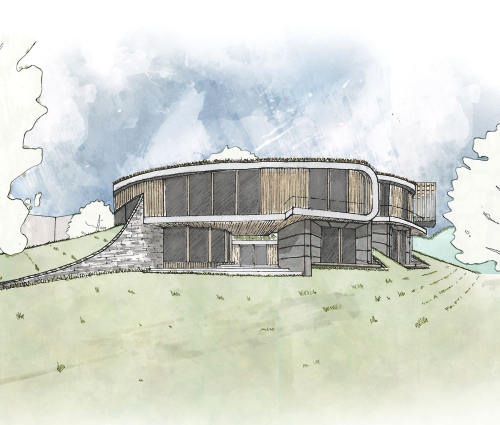 Bergbyr (Para 79). Designed by Hawkes Architecture, this energy efficient grand design, follows passive house principles.