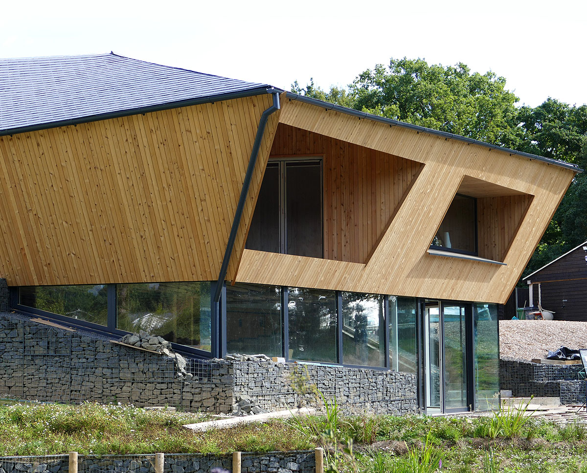 Exterior detail of Brooks Barn (Para 55). Designed by Hawkes Architecture, this energy efficient grand design, follows passive house principles.