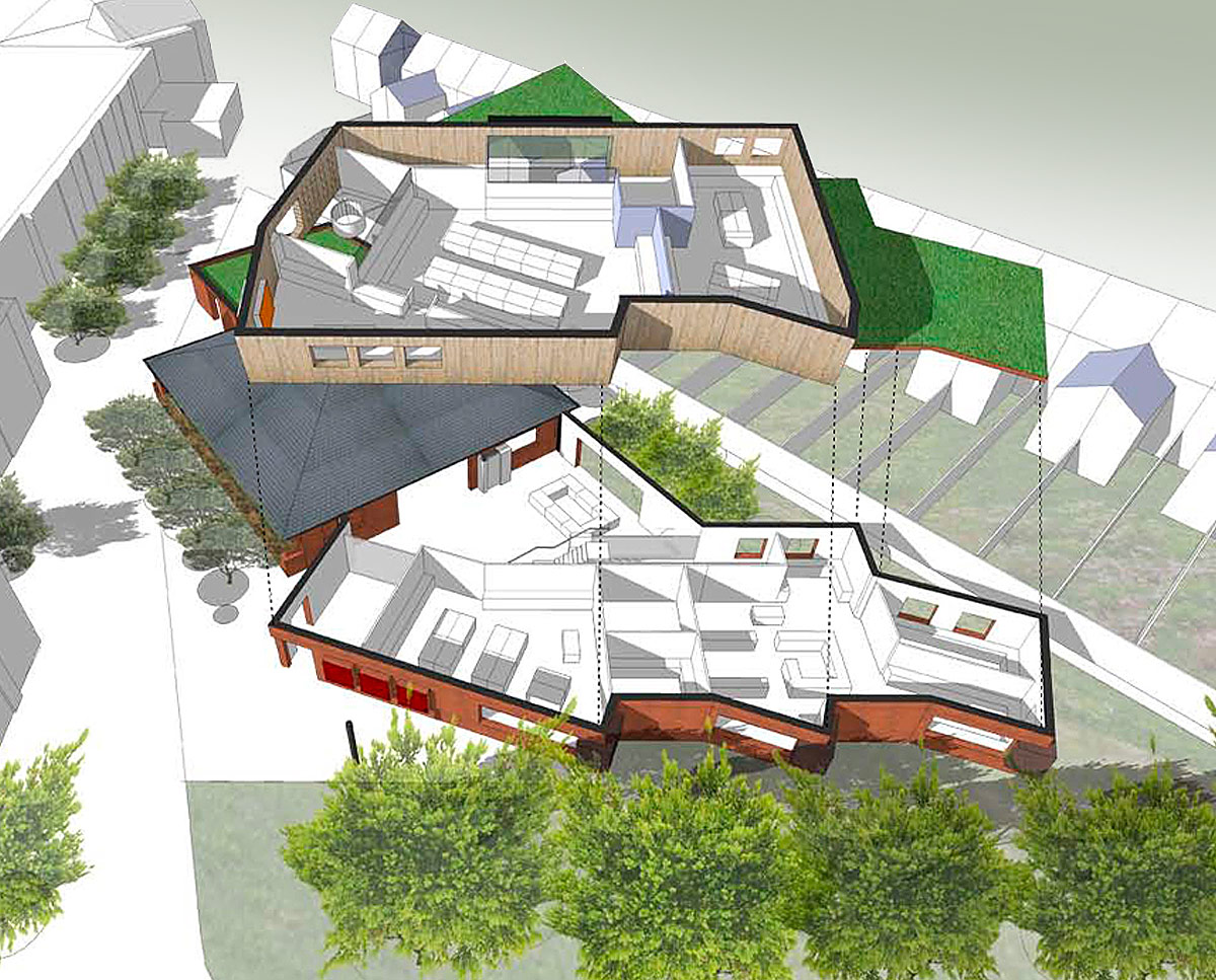 3D plans of Chatham Grammar School's new landmark arts building, designed by Hawkes Architecture.