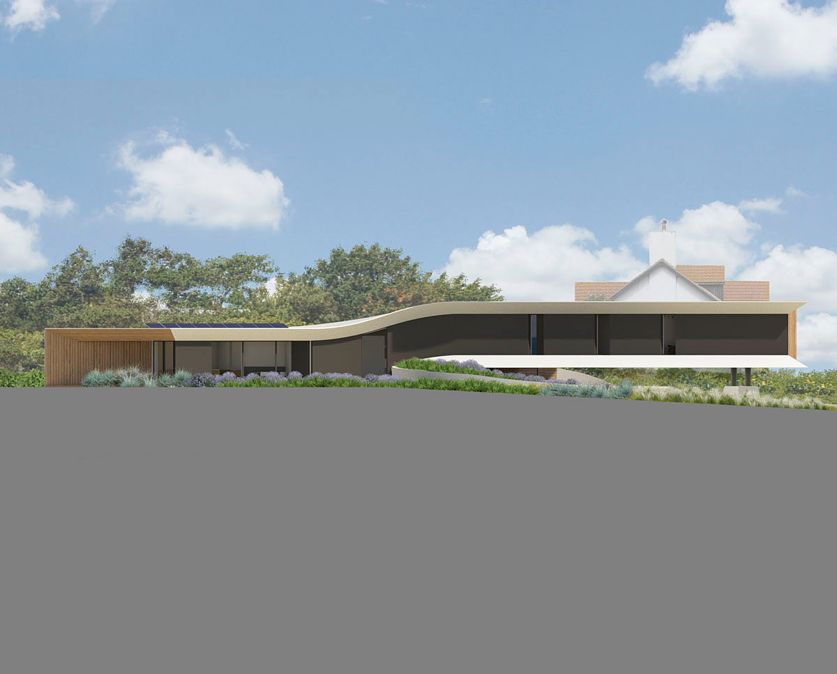 Profile render of Cliff Top House (Para 55). Designed by Hawkes Architecture, this energy efficient grand design, follows passive house principles.