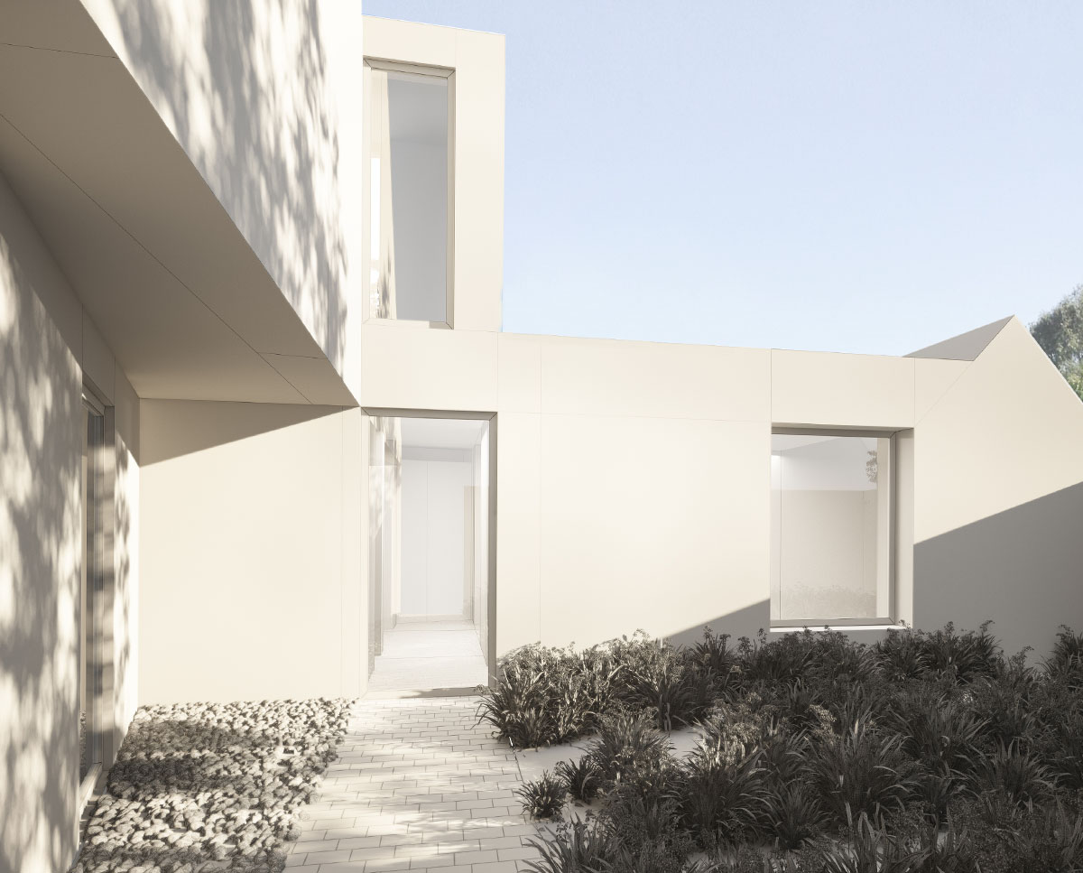 Courtyard entrance to Coach House. Designed by Hawkes Architecture this grand design, follows passive house principles.