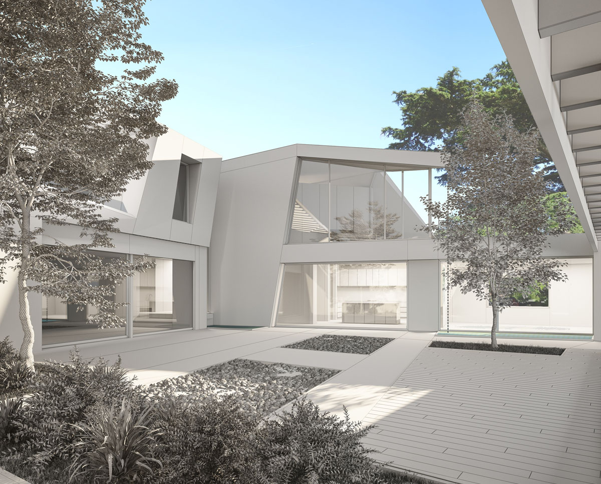 Courtyard render of Coach House. Designed by Hawkes Architecture this grand design, follows passive house principles.