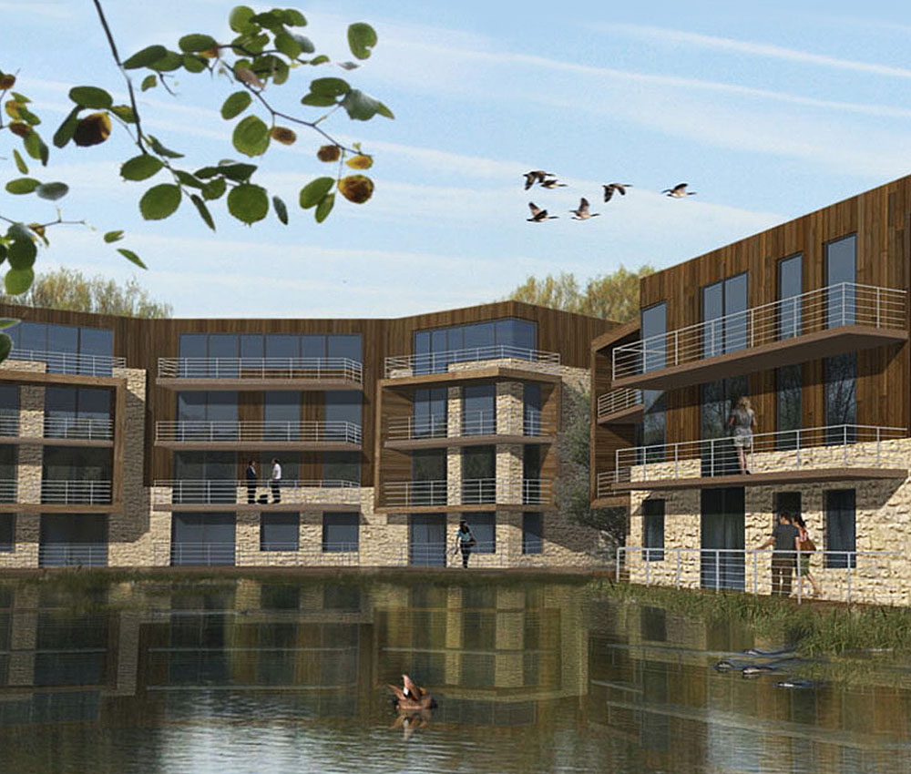 Fairford Eco Lakes. A sustainable development, designed by Hawkes Architecture.