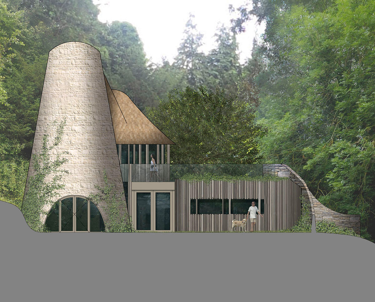 Entrance render of Flight Farm (Para 55). Designed by Hawkes Architecture, this energy efficient grand design, follows passive house principles.