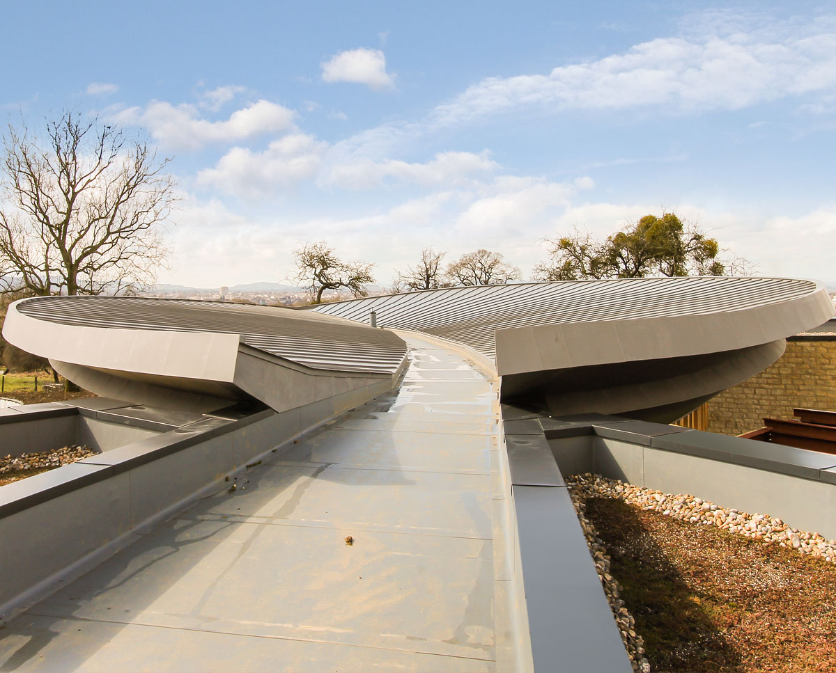 The leaf shaped zinc roof at Headlands (Para 55). Designed by Hawkes Architecture, this energy efficient grand design, follows passive house principles.