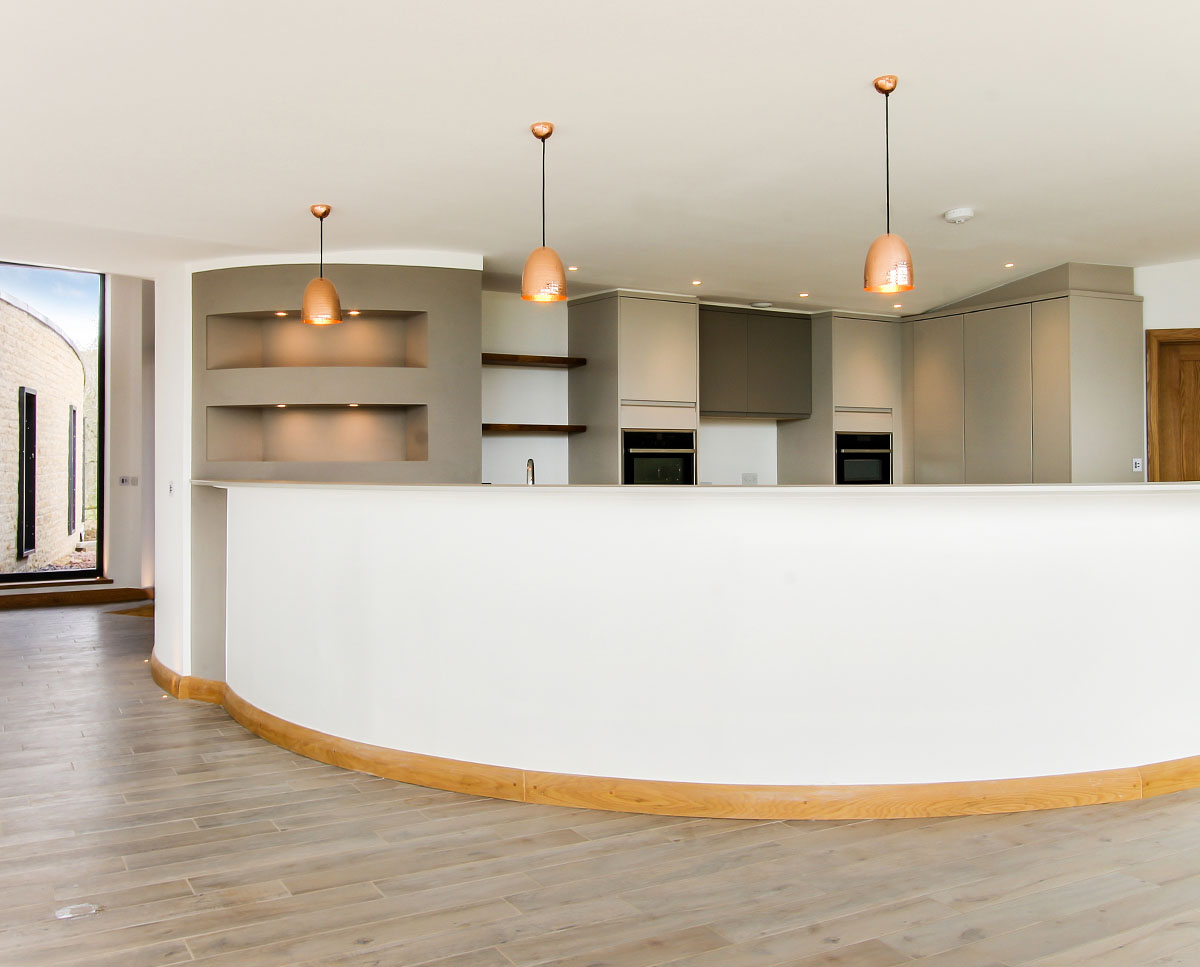 The breakfast bar at Headlands (Para 55). Designed by Hawkes Architecture, this energy efficient grand design, follows passive house principles.
