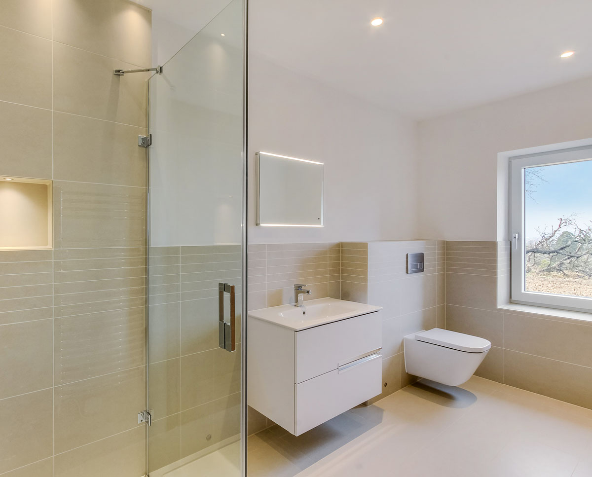 The bathroom at Headlands (Para 55). Designed by Hawkes Architecture, this energy efficient grand design, follows passive house principles.