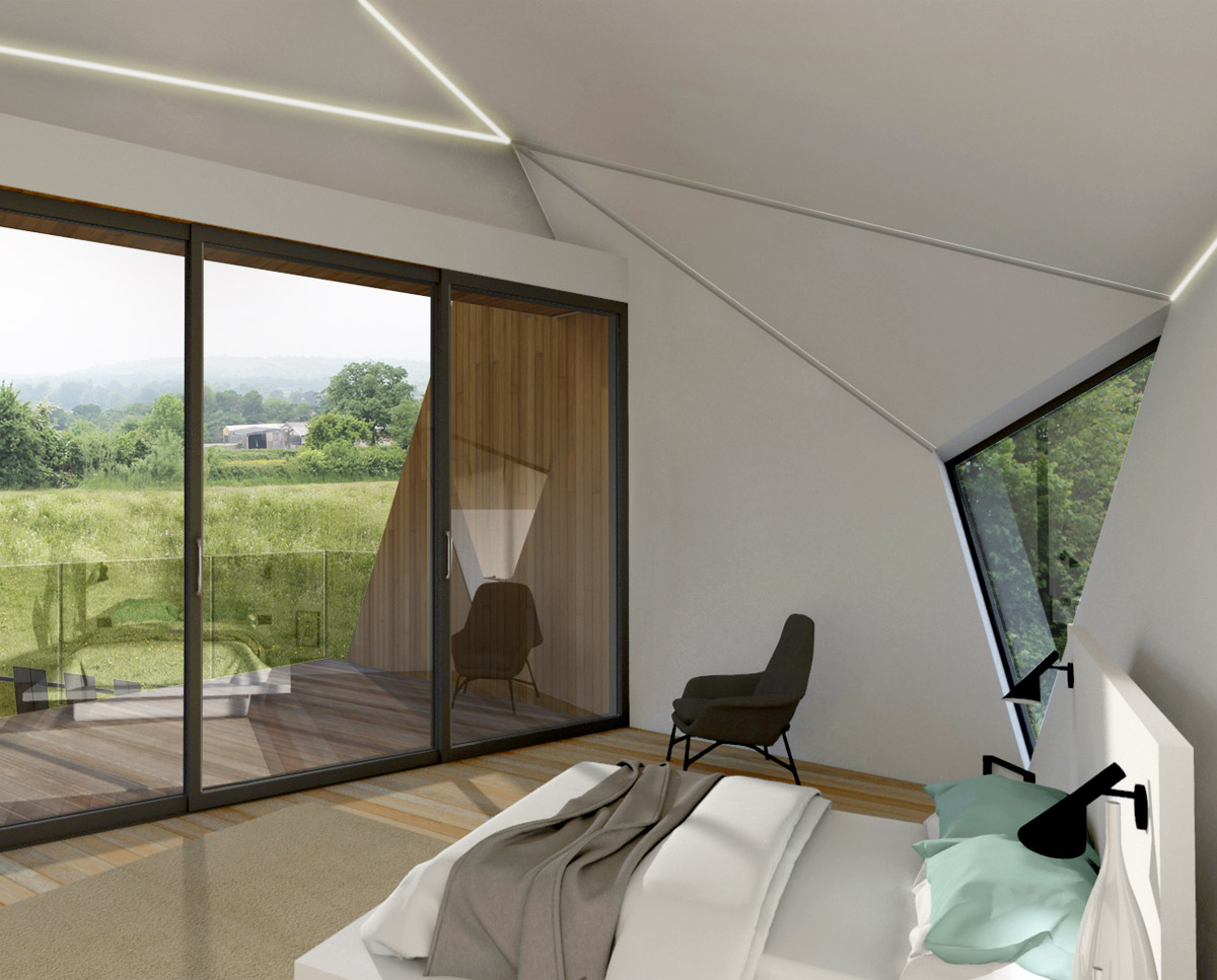 Internal bedroom render of Mendip, a large Para 79 family home. Designed by Hawkes Architecture, this energy efficient timber-frame passivhaus will utilise the very latest renewable technology.