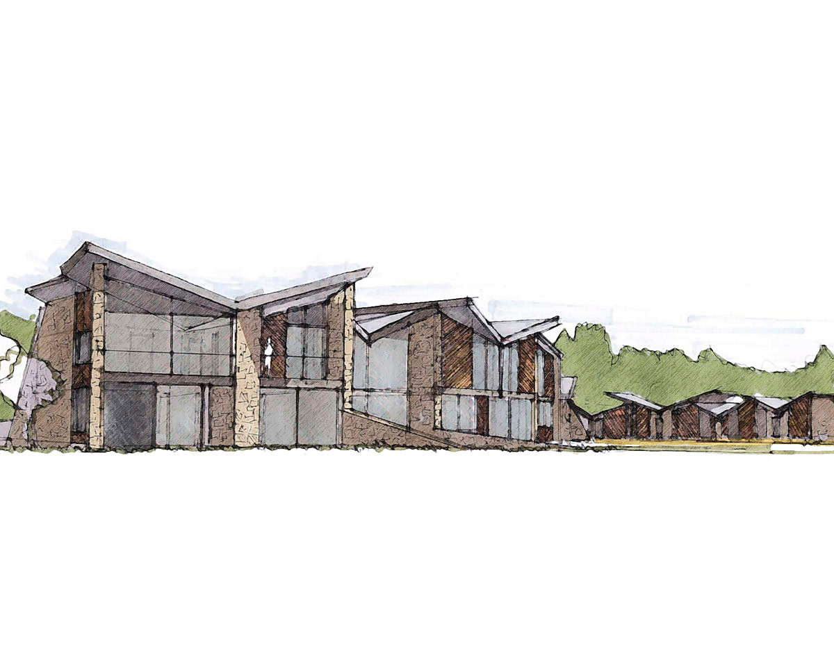 Architects sketch of North Yorkshire (Para 79). Designed by Hawkes Architecture, this energy efficient grand design follows passive house principles.