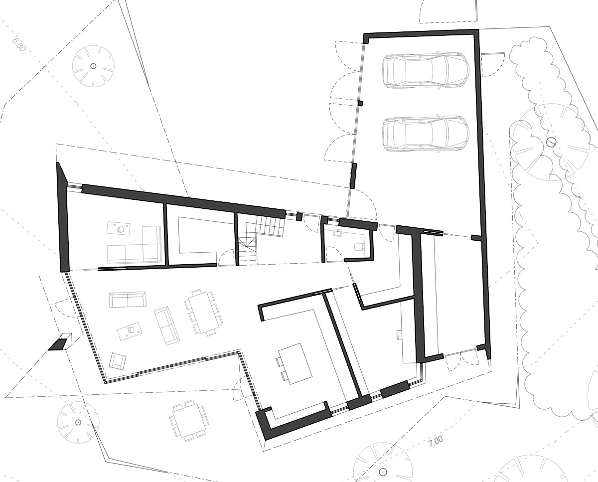 Plan drawings of Sandwich (Para 79). Designed by Hawkes Architecture, this energy efficient grand design, follows passive house principles.