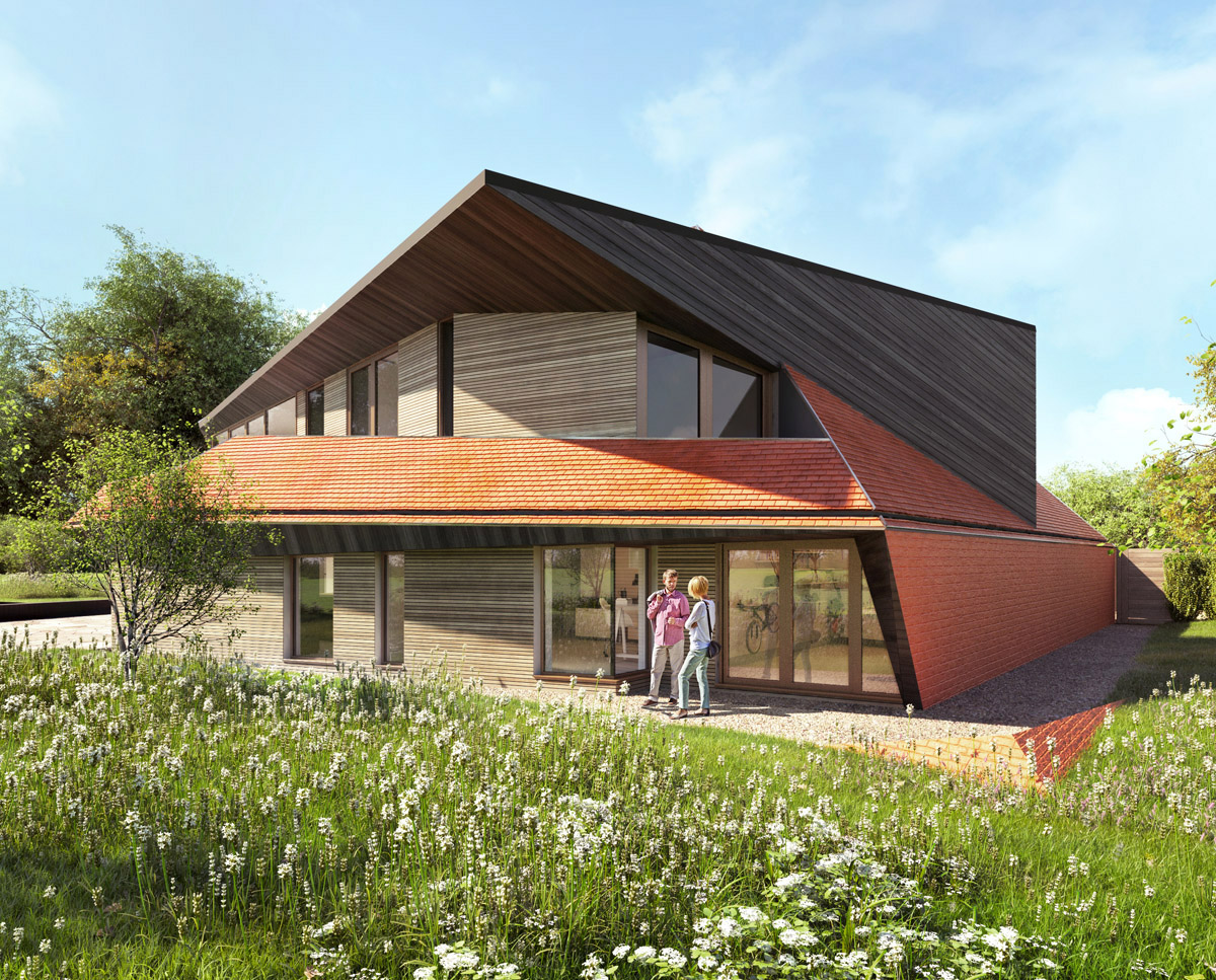 Front elevation render of Sandwich (Para 79). Designed by Hawkes Architecture, this energy efficient grand design, follows passive house principles.