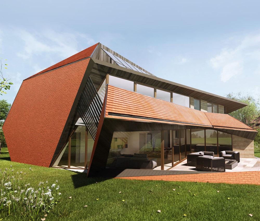Sandwich (Para 79). Designed by Hawkes Architecture, this energy efficient grand design, follows passive house principles.