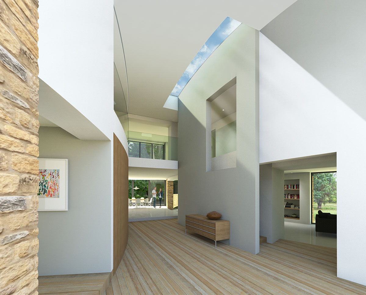 Interior render of Spinneys, a large Para 55 family home in Stratford-On-Avon. Designed by Hawkes Architecture, this energy efficient timber-frame passivhaus will utilise the latest renewable technology.