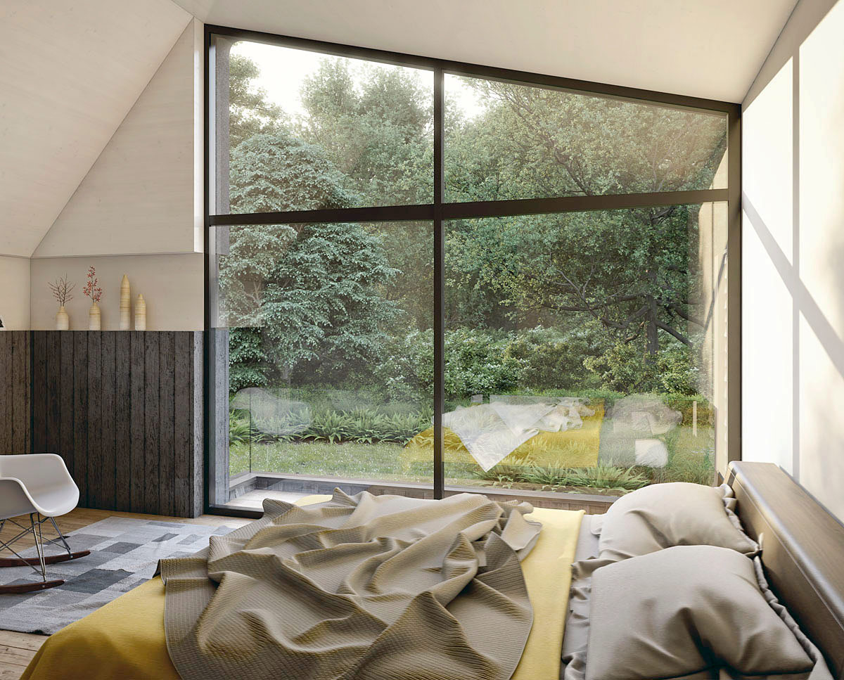 Internal bedroom render of Sulby (Para 55). Designed by Hawkes Architecture, this energy efficient grand design, follows passive house principles.
