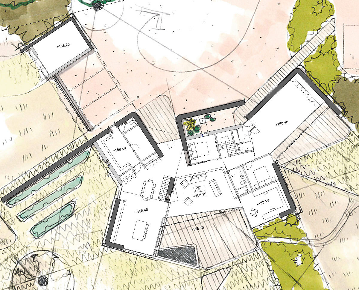 Plan drawing of Sulby (Para 55). Designed by Hawkes Architecture, this energy efficient grand design, follows passive house principles.