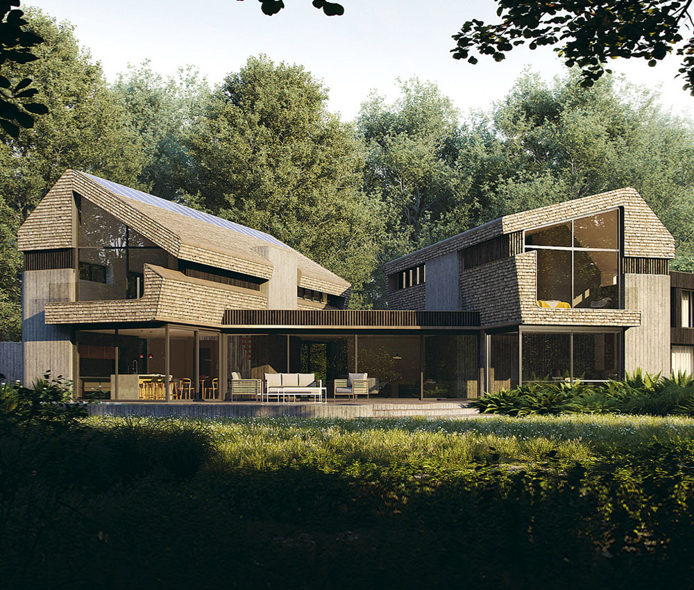 Sulby (Para 55). Designed by Hawkes Architecture, this energy efficient grand design, follows passive house principles.