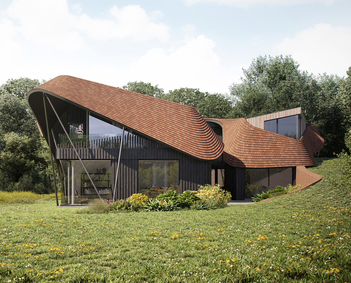 Exterior render of Water Lane, a Para 79 passive house. Designed by Hawkes Architecture, this energy efficient timber-frame structure will utilise the very latest renewable technology.