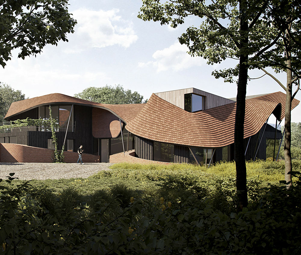 Water Lane (Para 79). Designed by Hawkes Architecture, this energy efficient grand design, follows passive house principles.