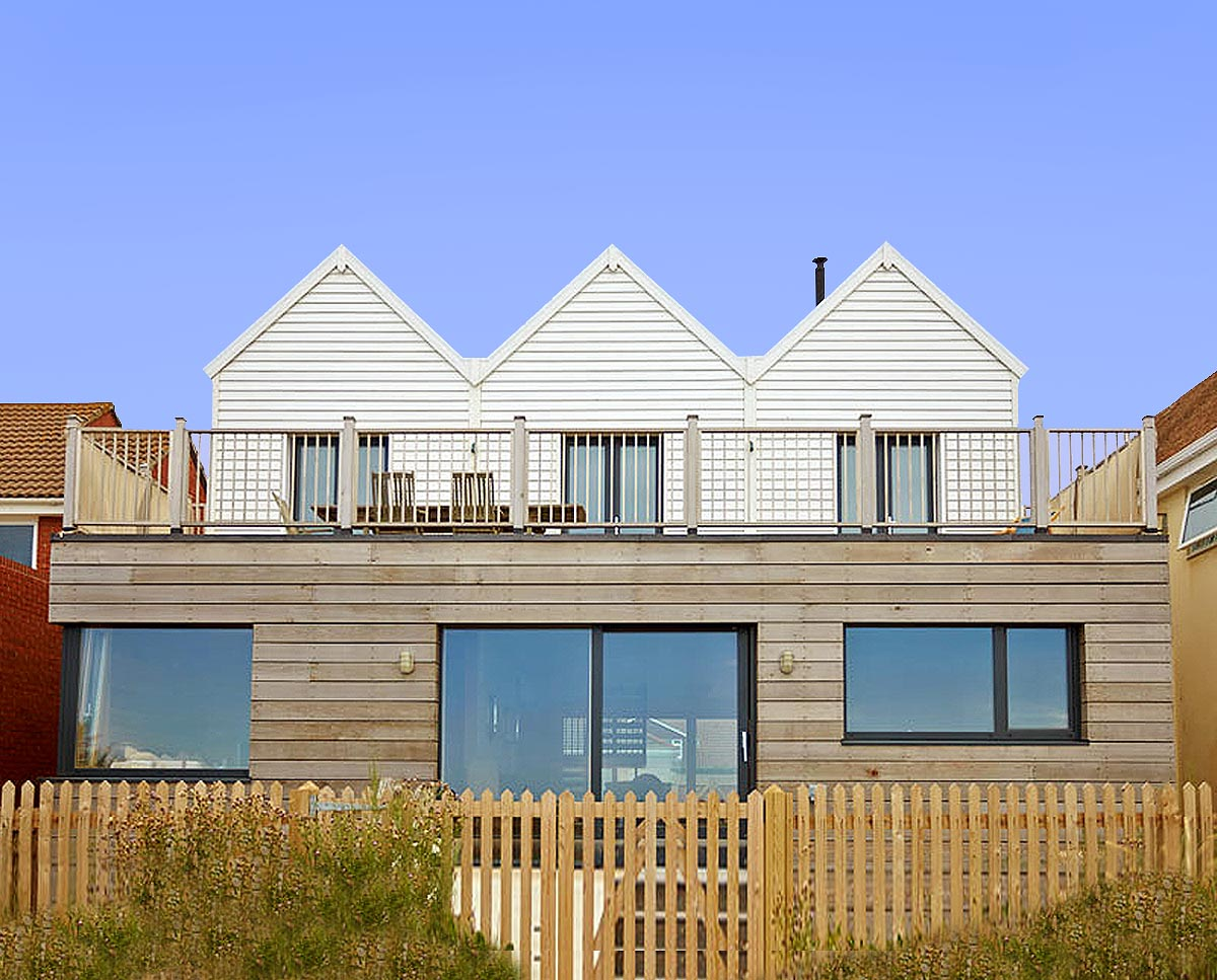 The beach exterior of West Wittering, an eco-friendly replacement dwelling built in Chichester. Designed by Hawkes Architecture.