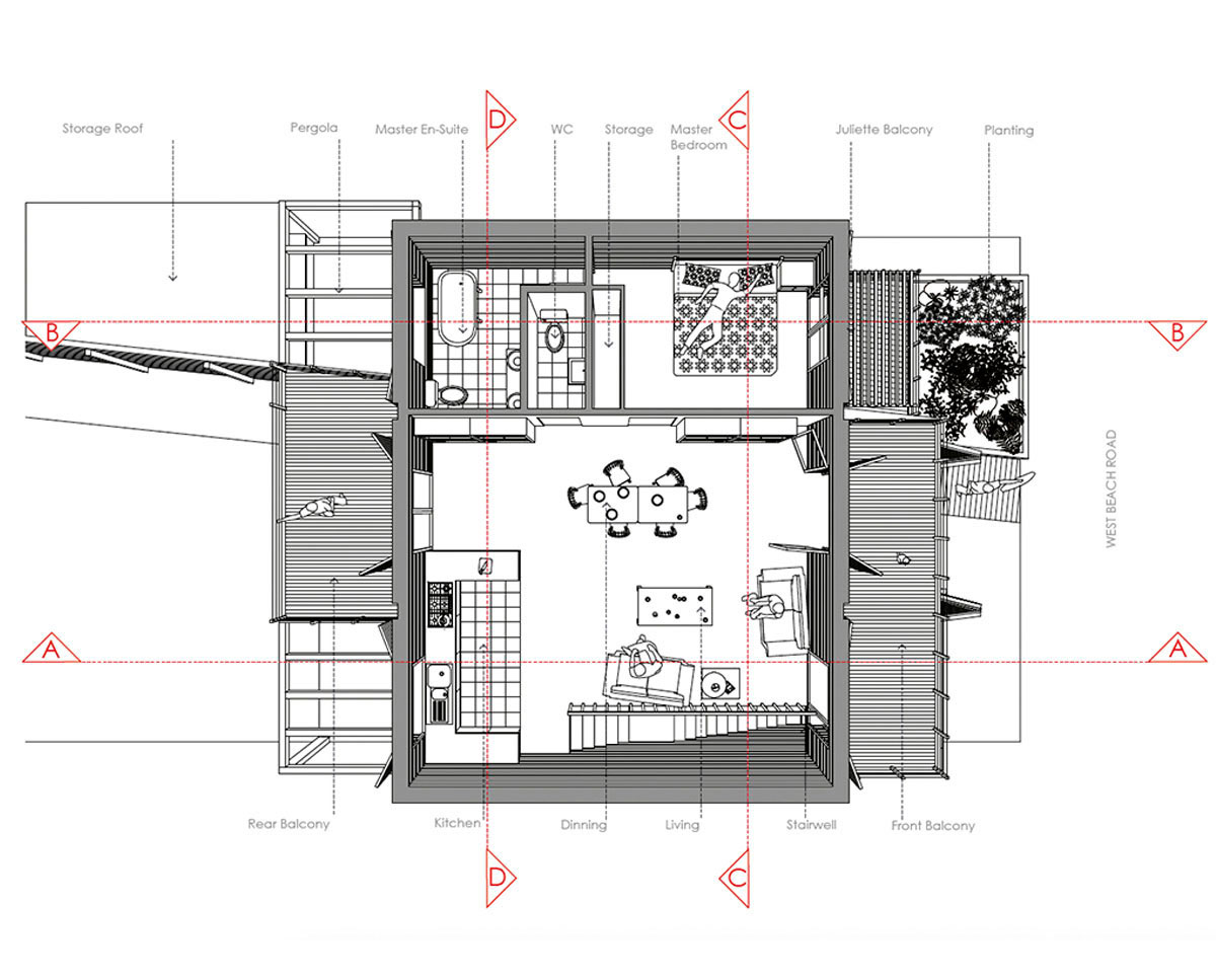The architect plans of West Wittering, an eco-friendly replacement dwelling built in Chichester. Designed by Hawkes Architecture.