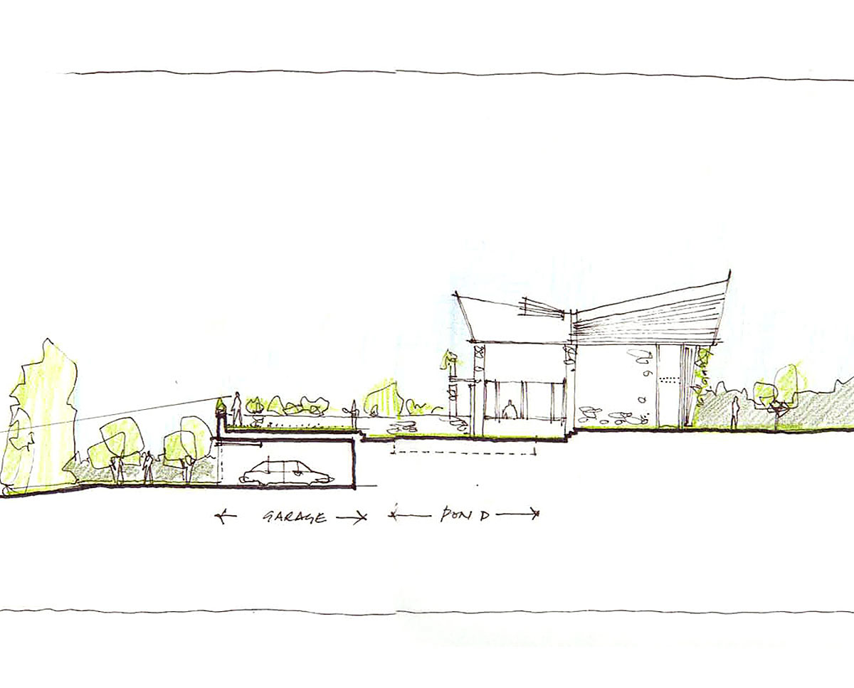 Architects drawings of Wings, a large PPS 7 family home in Horsmonden. Designed by Hawkes Architecture, this energy efficient timber-frame passivhaus utilises the latest renewable technology.