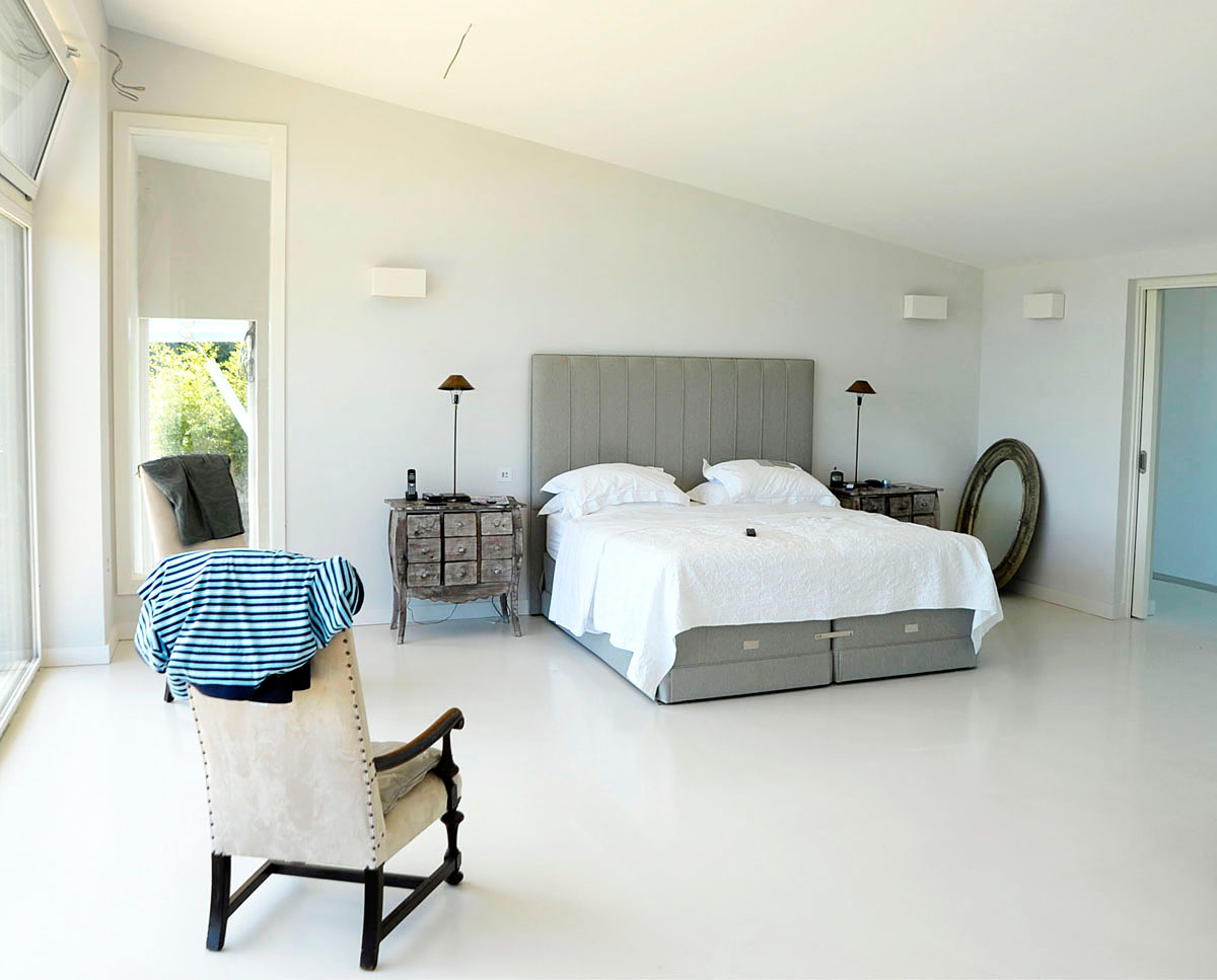 Master bedroom at Wings (PPS 7). Designed by Hawkes Architecture, this energy efficient grand design, follows passive house principles.