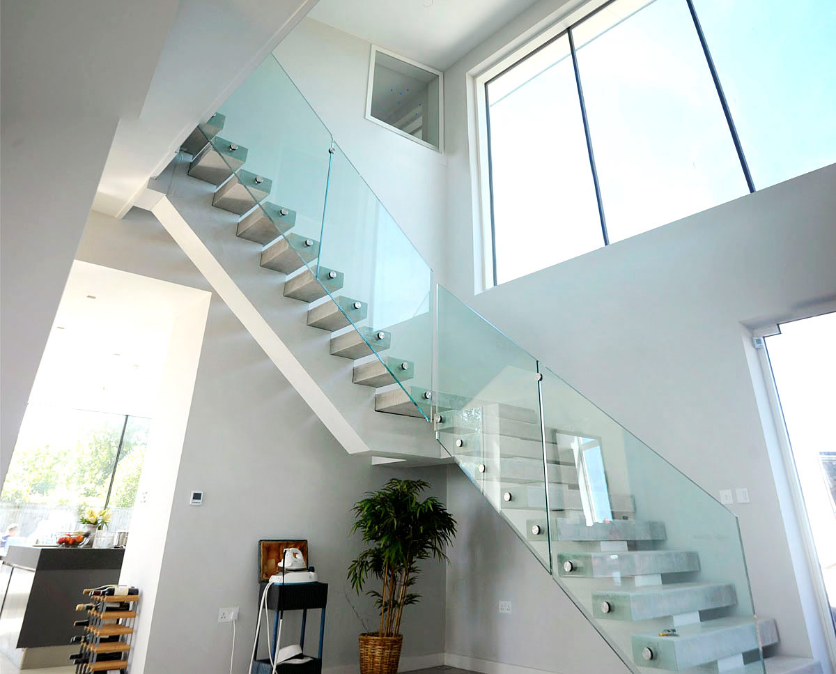 The stairwell at Wings, a large PPS 7 family home in Horsmonden. Designed by Hawkes Architecture, this energy efficient timber-frame passivhaus utilises the latest renewable technology.