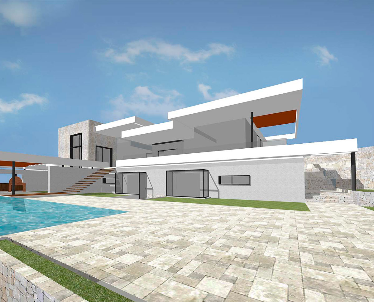 Exterior of Xabia, an eco-friendly Spanish villa, designed by Hawkes Architecture.