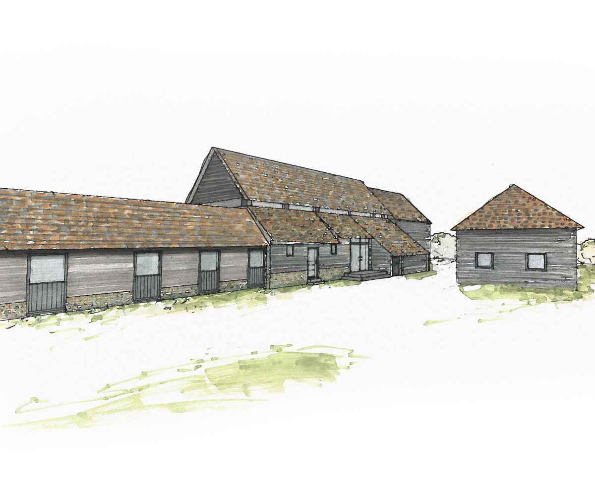 Exterior of Bells Yew Barn. A sustainable, energy efficient family home, designed & remodelled by Hawkes Architecture.