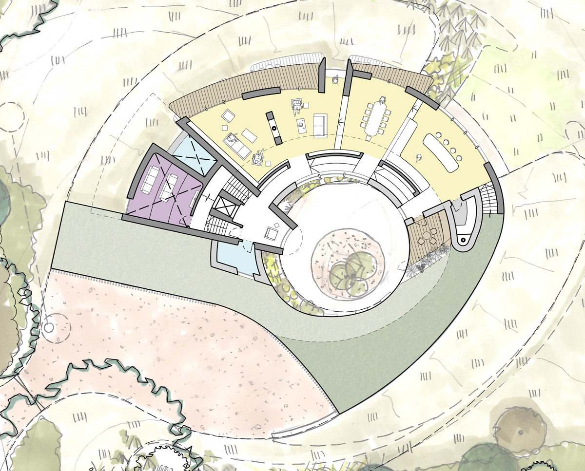 First floor plan drawing of Bergbyr. A sustainable eco-friendly, Para 79 passivhaus, designed by Hawkes Architecture.