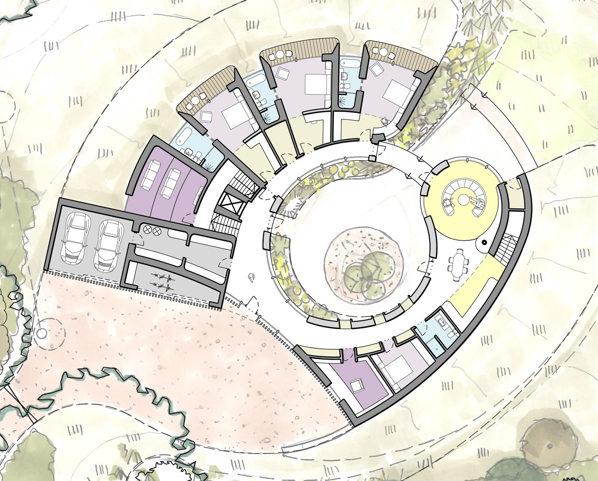 Ground floor plan drawing of Bergbyr. A sustainable eco-friendly, Para 79 passivhaus, designed by Hawkes Architecture.