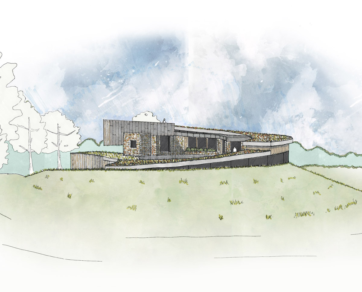 North elevation of Bergbyr. A sustainable eco-friendly, Para 79 passivhaus, designed by Hawkes Architecture.