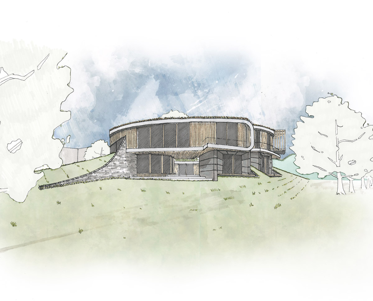 South elevation of Bergbyr. A sustainable eco-friendly, Para 79 passivhaus, designed by Hawkes Architecture.