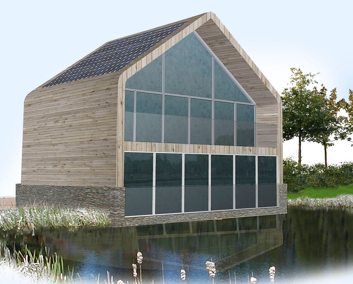 Water fronted apartments at Fairford Eco Lakes. A sustainable commercial development, designed by Hawkes Architecture.