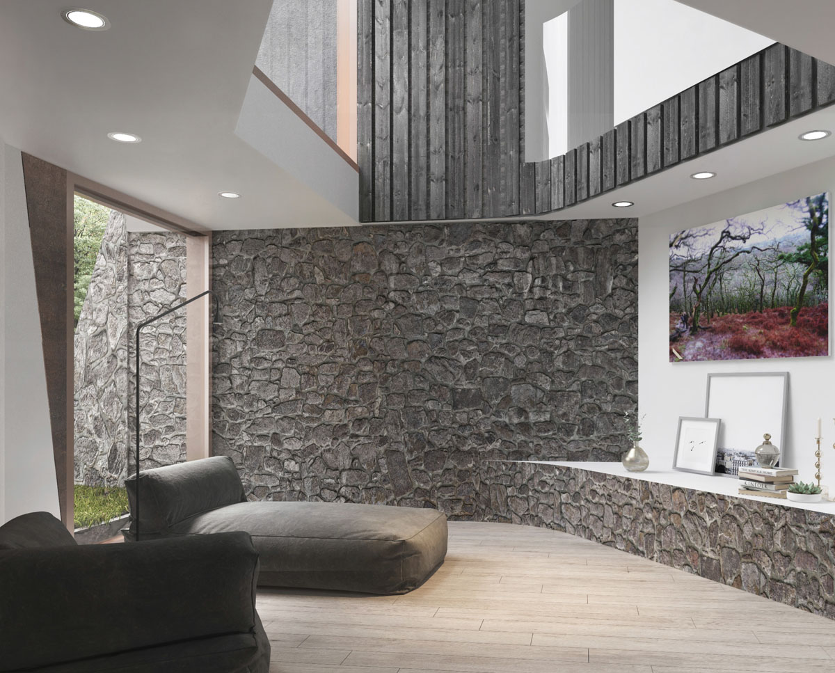 The lounge at Hedgebank (Para 79). Designed by Hawkes Architecture, this energy efficient grand design, follows passive house principles.