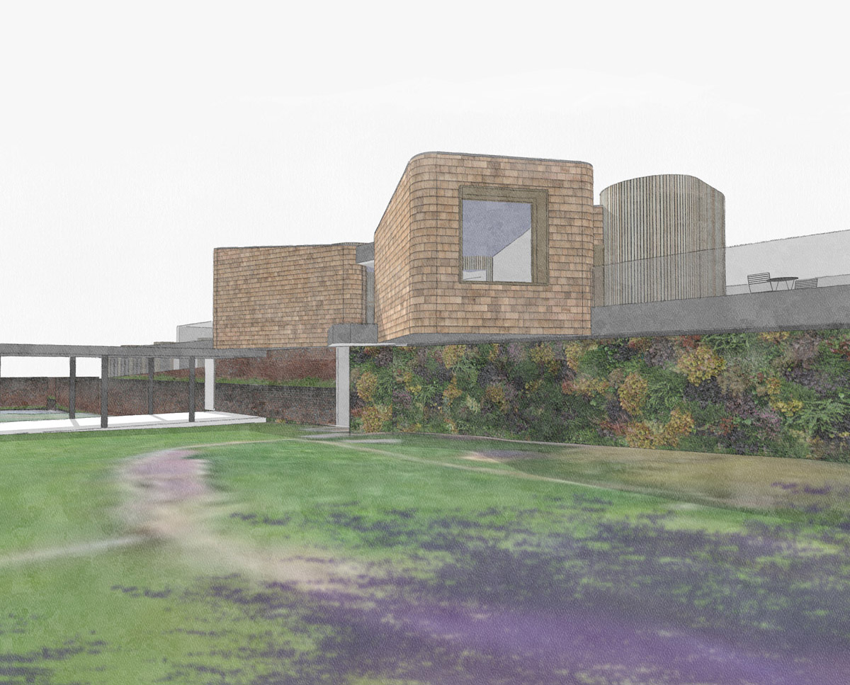 North elevation drawing of Hertford Gardens. A sustainable eco-friendly, Para 79 passivhaus designed by Hawkes Architecture.