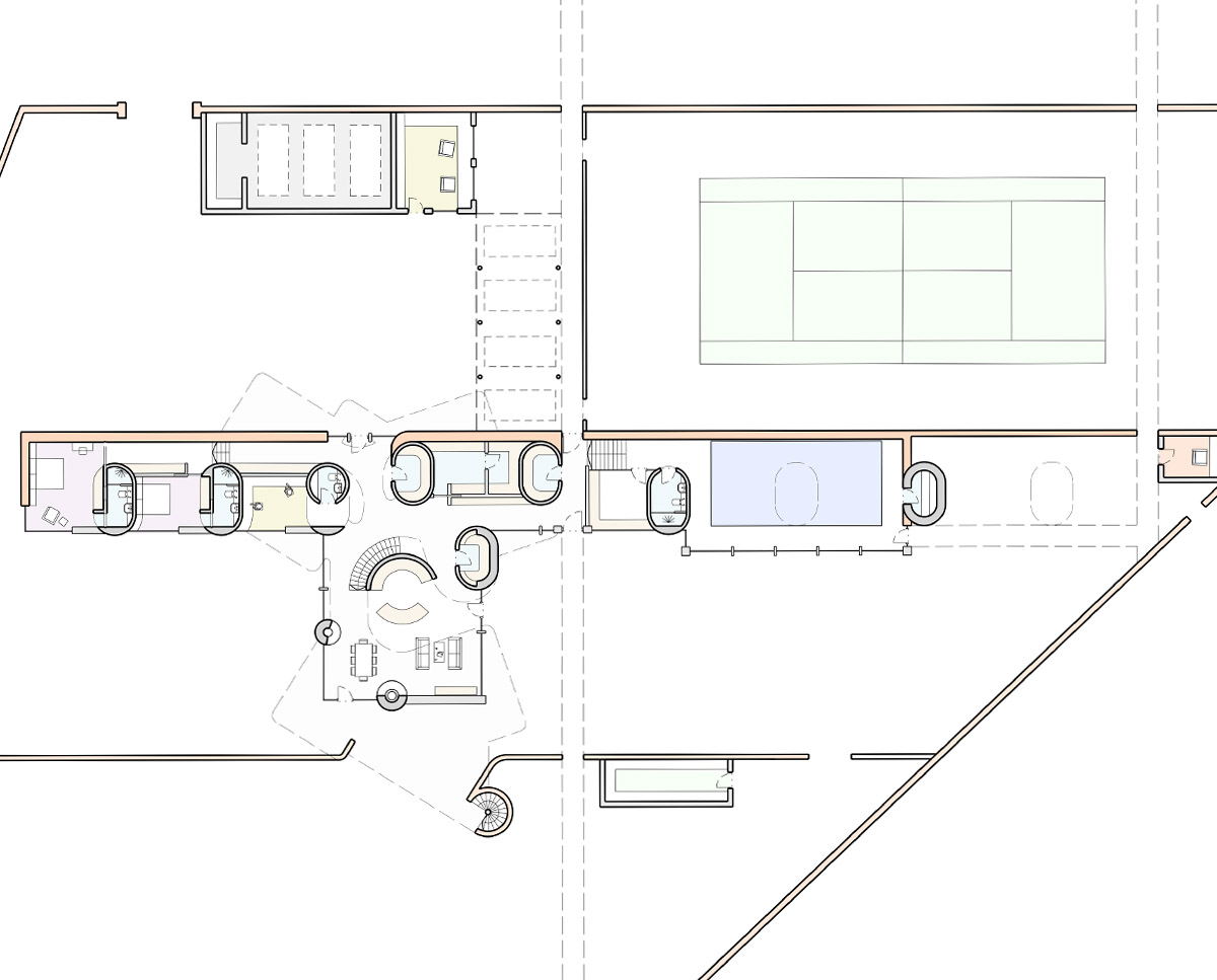Plan drawing of Hertford Gardens. A sustainable eco-friendly, Para 79 passivhaus designed by Hawkes Architecture.