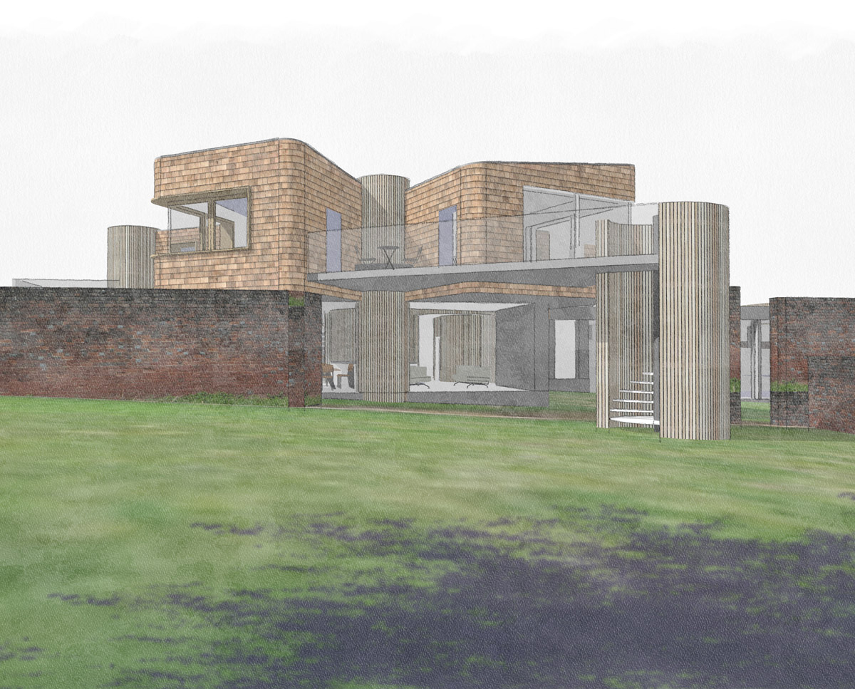 South elevation drawing of Hertford Gardens (Para 79). Designed by Hawkes Architecture, this energy efficient grand design, follows passive house principles.