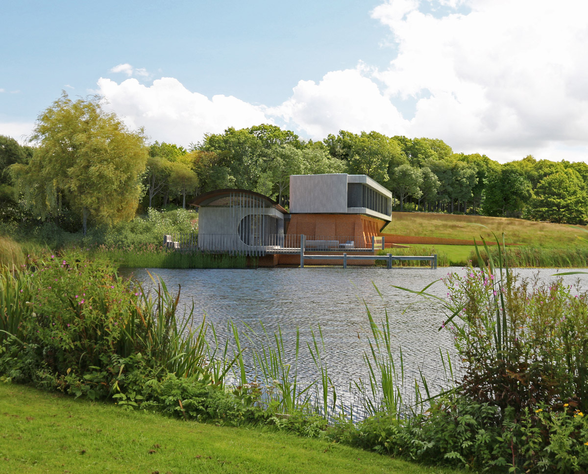 A distant view of Lake House, a large Para 55 family home. Designed by Hawkes Architecture, this energy efficient timber-frame passivhaus will utilise the latest renewable technology.