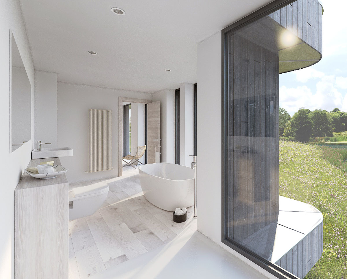 The family bathroom Lake House, a large Para 55 family home. Designed by Hawkes Architecture, this energy efficient timber-frame passivhaus will utilise the latest renewable technology.