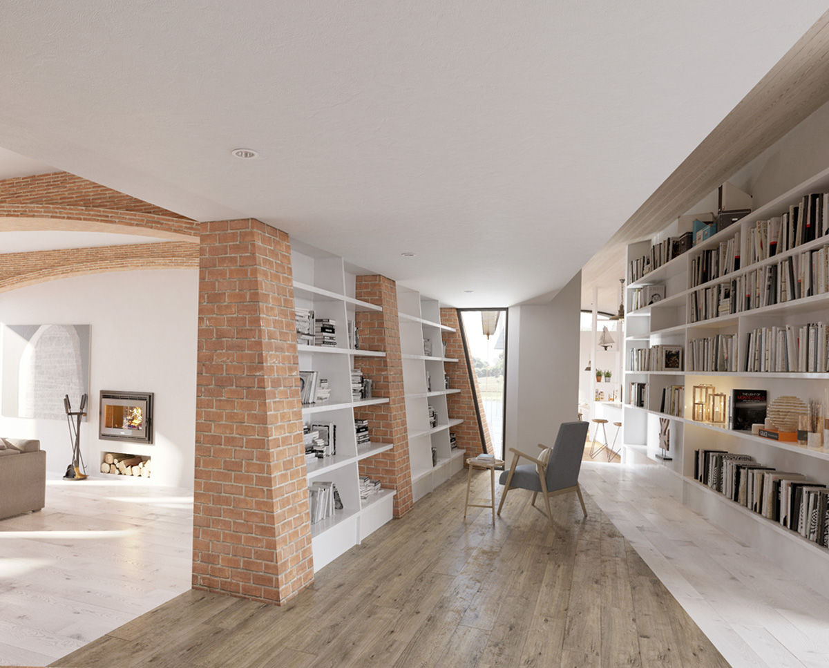 The hallway at Lake House, a large Para 55 family home. Designed by Hawkes Architecture, this energy efficient timber-frame passivhaus will utilise the latest renewable technology.