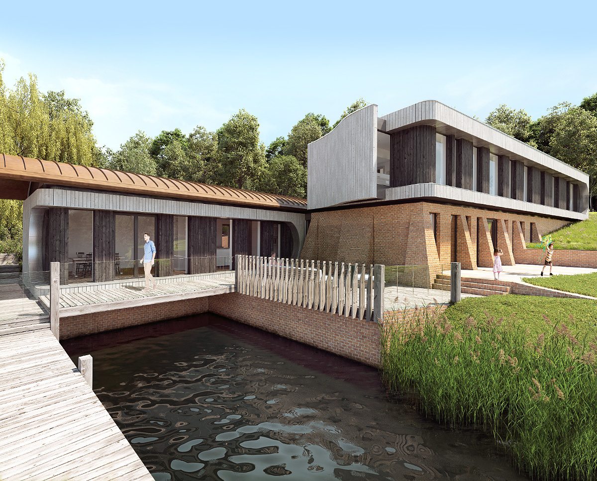 The jetty at Lake House, a large Para 55 family home. Designed by Hawkes Architecture, this energy efficient timber-frame passivhaus will utilise the latest renewable technology.