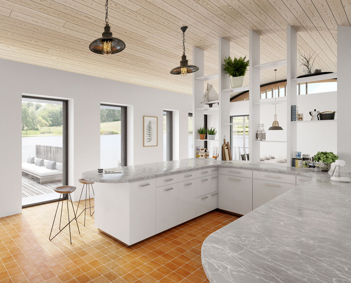 The kitchen at Lake House, a large Para 55 family home. Designed by Hawkes Architecture, this energy efficient timber-frame passivhaus will utilise the latest renewable technology.