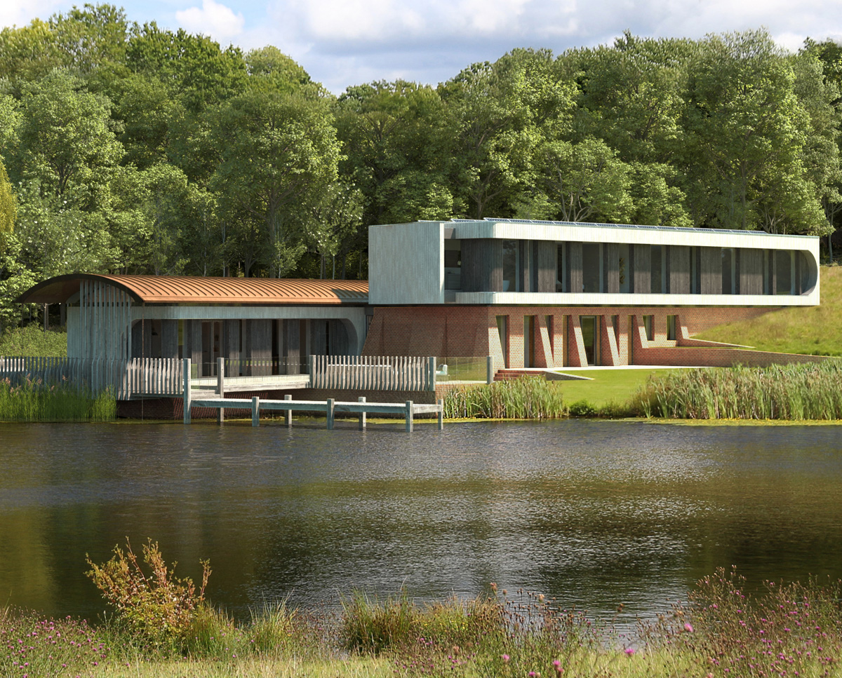 The distant view of Lake House (Para 79). Designed by Hawkes Architecture, this energy efficient grand design, follows passive house principles.