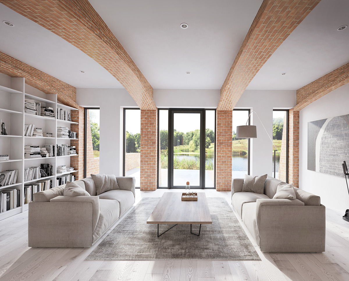 The lounge at Lake House, a large Para 55 family home. Designed by Hawkes Architecture, this energy efficient timber-frame passivhaus will utilise the latest renewable technology.