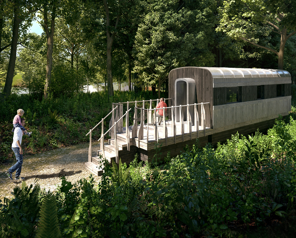 The railway carriage accommodation at Lake House, a large Para 55 family home. Designed by Hawkes Architecture, this energy efficient timber-frame passivhaus will utilise the latest renewable technology.