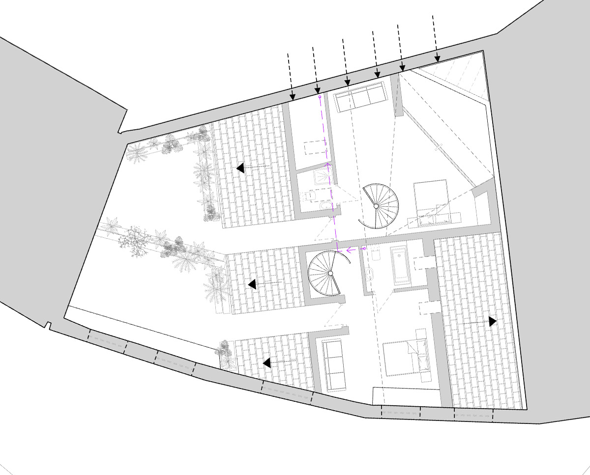 Atic plan drawing of The Bottle House. A sustainable listed building, remodelled by Hawkes Architecture.