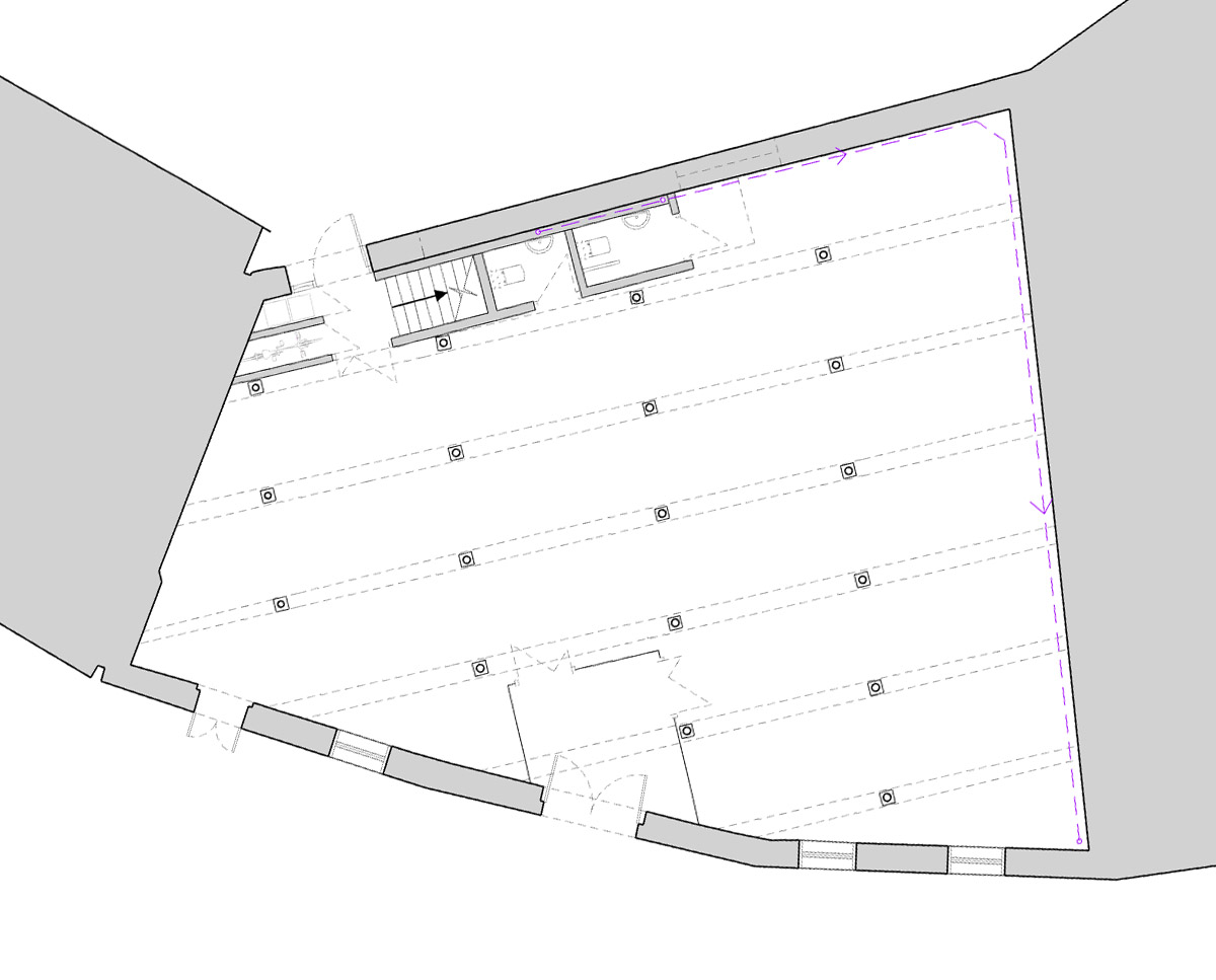 Ground floor plan drawing of The Bottle House. A sustainable listed building, remodelled by Hawkes Architecture.
