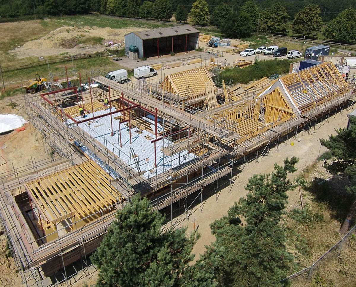 Construction progress at View Point (Para 55). Designed by Hawkes Architecture, this energy efficient grand design, follows passive house principles.